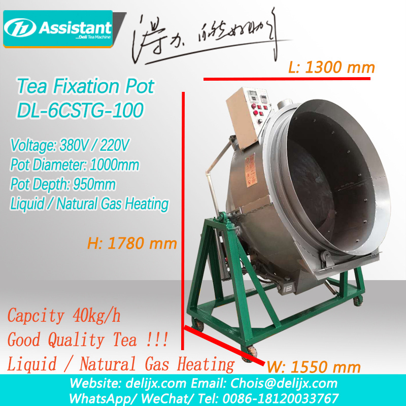 Chinese Gas Heating Tea leaf Fixing Pot Machine Supplier 6CSTG-100